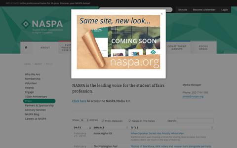 Screenshot of Press Page naspa.org - Press Updates on NASPA | Student Affairs Professionals - captured March 2, 2019