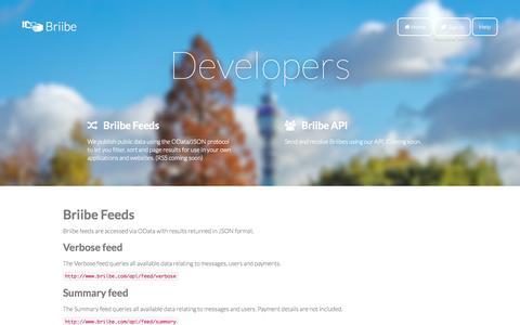 Screenshot of Developers Page briibe.com - Developers - captured Dec. 17, 2014