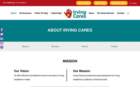 Screenshot of About Page irvingcares.org - About Irving Cares - Irving Cares - captured Sept. 20, 2018