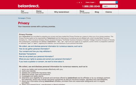 Screenshot of Privacy Page belairdirect.com - Privacy | belairdirect - captured Sept. 19, 2014