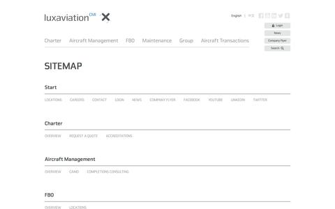 Screenshot of Site Map Page luxaviation.com - Sitemap - captured Jan. 3, 2017