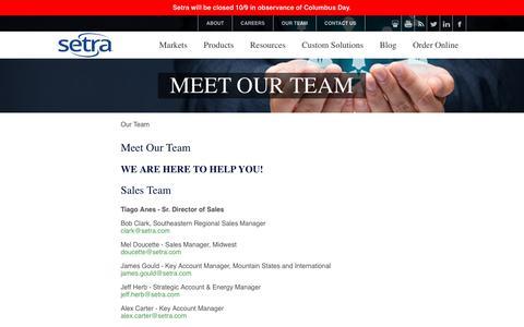 Screenshot of Team Page setra.com - Meet Our Team | Setra Systems - captured Oct. 8, 2017