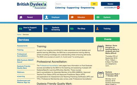Screenshot of Services Page bdadyslexia.org.uk - Services | British Dyslexia Association - captured Sept. 23, 2018