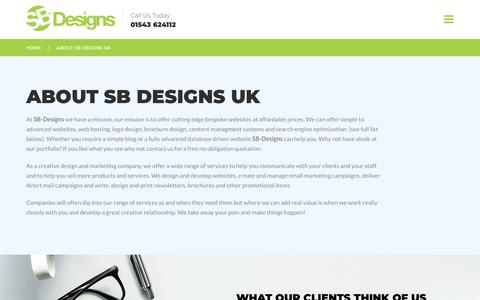 Screenshot of About Page sb-designs.co.uk - About SB Designs UK Design Agency Cannock | Walsall - captured Oct. 1, 2018