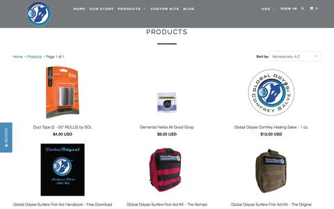 Screenshot of Products Page globalodyssi.com - Products - Global Odyssi - captured July 19, 2018