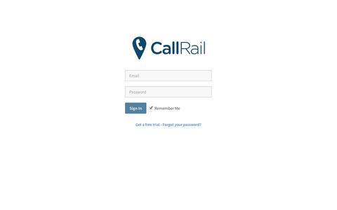 Screenshot of Login Page callrail.com - CallRail - captured Sept. 18, 2014
