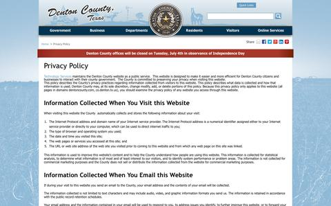 Screenshot of Privacy Page dentoncounty.com - Privacy Policy - Denton County, Texas - captured July 5, 2017