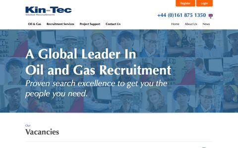 Screenshot of Home Page kin-tec.com - Oil and Gas Recruitment | Oil and Gas Recruitment Agency - Kin-Tec - captured Oct. 6, 2014
