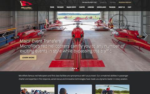 Screenshot of Home Page microflite.com.au - Microflite Helicopter Services - captured Feb. 13, 2016