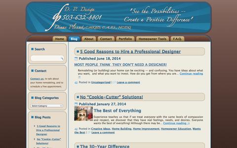 Screenshot of Blog dp-design.com - Kitchen Bath Remodeling Information DP Design 503-632-8801 | - captured Sept. 30, 2014