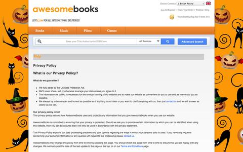 Screenshot of Privacy Page awesomebooks.com - Privacy Policy - AwesomeBooks.com - captured Oct. 29, 2014