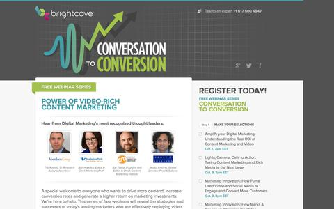 Screenshot of Landing Page brightcove.com - Brightcove | Conversation to Conversion - Power of video-rich content marketing - captured Aug. 25, 2016