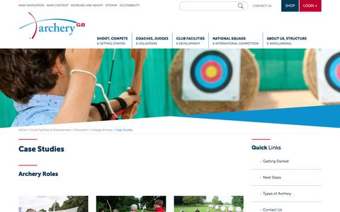 Screenshot of Case Studies Page archerygb.org - Case Studies - Archery GB - captured July 30, 2018
