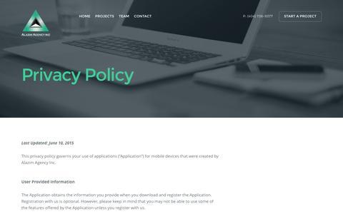 Screenshot of Privacy Page alazimagency.com - Privacy Policy - Alazim Agency - captured Feb. 5, 2016