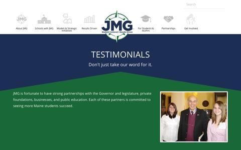 Screenshot of Testimonials Page jmg.org - JMG Testimonials - captured Nov. 27, 2016