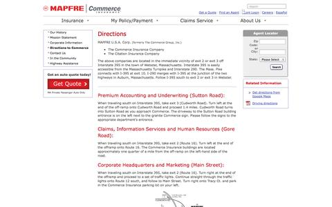 Screenshot of Maps & Directions Page commerceinsurance.com - Directions to MAPFRE | Commerce Insurance - captured Sept. 30, 2014