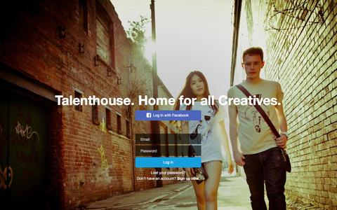 Screenshot of Login Page talenthouse.com - Talenthouse - captured Jan. 30, 2016