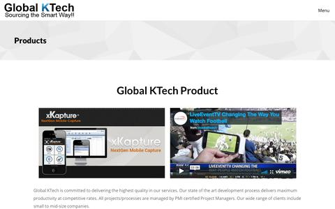 Screenshot of Products Page globalktech.com - Products | Global KTech Inc is a fast growing technological firm headquartered in Orlando, Florida - captured Aug. 9, 2017