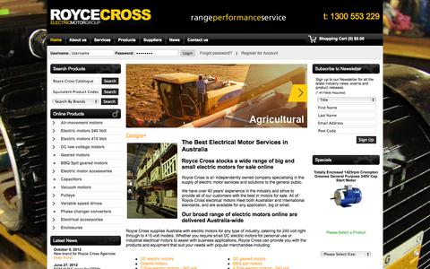 Screenshot of Home Page roycecross.com.au - Electrical Motors Online - Royce Cross Agencies - captured Oct. 1, 2014