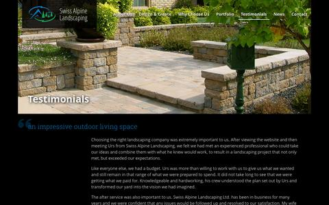 Screenshot of Testimonials Page swissalpine.ca - Testimonials | Swiss Alpine Landscaping Ltd. - captured Oct. 6, 2014