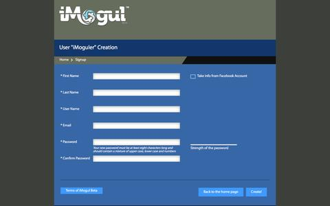 Screenshot of Signup Page imogul.co - iMogul :: Signup Authentication - captured Jan. 9, 2016