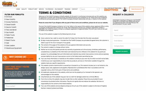 Screenshot of Terms Page theforkliftcompany.net - Terms & Conditions   The Forklift Company - captured Dec. 22, 2016