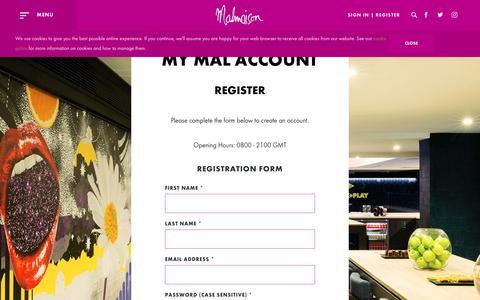 Screenshot of Signup Page malmaison.com - Register With Us - Malmaison Hotels - captured Dec. 3, 2017