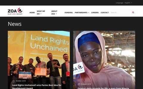 Screenshot of Press Page zoa-international.com - Archief News - ZOA - captured Oct. 20, 2018