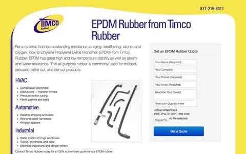 Screenshot of Landing Page timcorubber.com - Timco Rubber   EPDM Rubber - captured Oct. 21, 2016