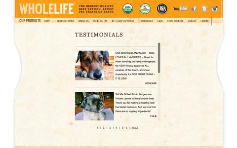 Screenshot of Testimonials Page wholelifepet.com - Whole Life Pet Products - captured Oct. 26, 2014