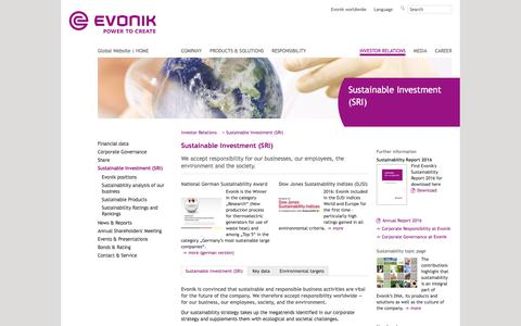 Sustainable Investment (SRI) - Evonik Industries - Specialty Chemicals