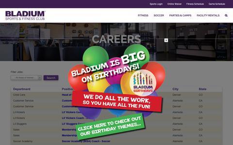 Screenshot of Jobs Page bladiumalameda.com - Careers - Bladium Sports & Fitness Club - Alameda - captured Oct. 6, 2018