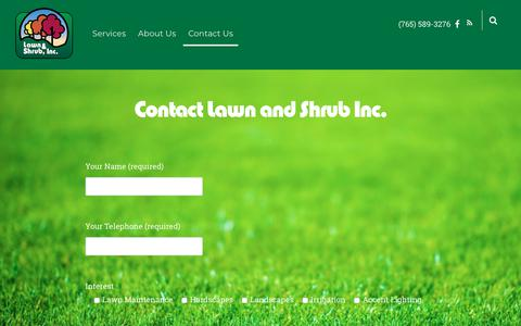 Screenshot of Contact Page lawnandshrub.com - Contact Us – Lawn and Shrub Inc. - captured Sept. 27, 2018