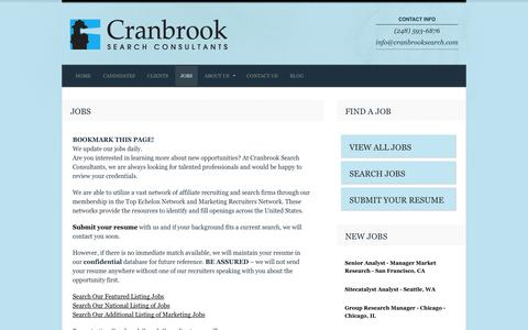 Screenshot of Jobs Page cranbrooksearch.com - Jobs | Cranbrook Search Consultants - captured Oct. 3, 2014