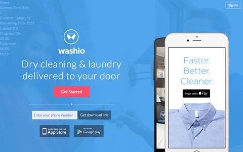 Screenshot of Home Page getwashio.com - Washio | Dry Cleaning and Laundry Delivered - captured Dec. 13, 2014
