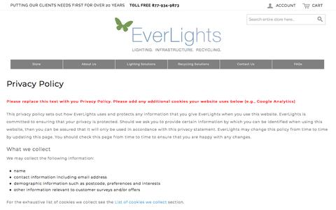 Screenshot of Privacy Page everlights.com - Privacy Policy - captured July 22, 2018