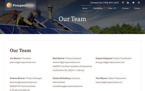 Screenshot of Team Page prospectsolar.com - Our Team   Prospect Solar - captured July 16, 2016