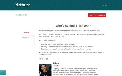 Screenshot of About Page bidsketch.com - About Bidsketch Proposal Software | Bidsketch - captured Sept. 18, 2014