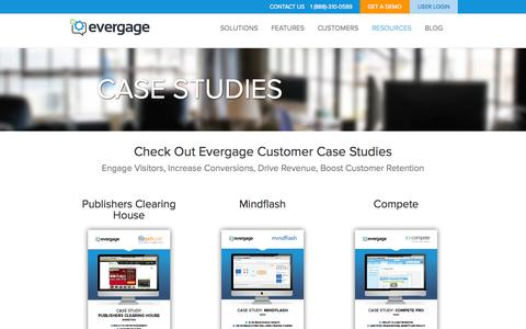 Screenshot of Case Studies Page evergage.com - Case Studies | Evergage - captured Oct. 28, 2014