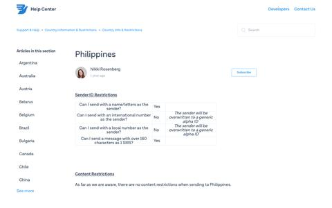 Philippines – Support & Help