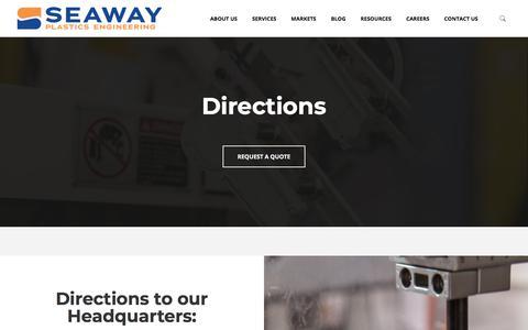Screenshot of Maps & Directions Page seawayplastics.com - Directions - Seaway Plastics - captured Aug. 17, 2018
