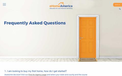 Screenshot of FAQ Page ehomeamerica.org - Frequently Asked Questions   eHome America - captured Oct. 20, 2018