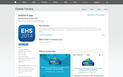 Screenshot of iOS App Page apple.com - EHS2014 app on the App Store on iTunes - captured Nov. 4, 2014