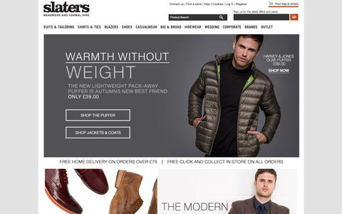 Screenshot of Home Page slaters.co.uk - Menswear   Mens Suits, Blazers & Clothing Online    Slaters - captured Oct. 7, 2015