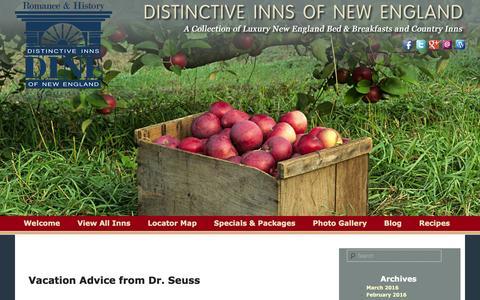 Screenshot of Blog distinctiveinns.com - Read Our Blog from Distinctive Inns of New England - captured March 3, 2016