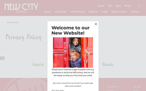 Screenshot of Privacy Page newcityschool.org - Privacy Policy - New City School - captured Aug. 12, 2019