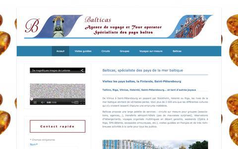 Screenshot of Home Page Menu Page balticas.fr - Balticas | Agence de voyage et tour operator spécialiste des pays baltes - captured Oct. 5, 2014