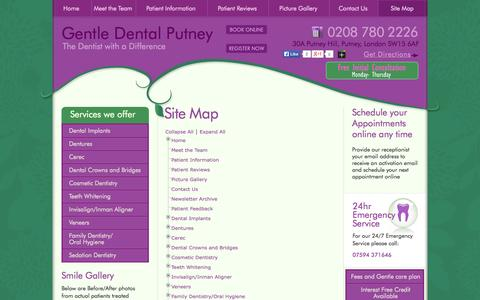 Screenshot of Site Map Page gentledentalputney.co.uk - Comprehensive Dentist Putney: Drop yourself at our practice to experience a range of dental services. - captured Sept. 29, 2014