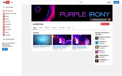 Screenshot of YouTube Page youtube.com - purpleirony  - YouTube - captured Oct. 23, 2014