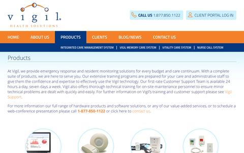 Screenshot of Products Page vigil.com - Products - Vigil Health Solutions - captured Dec. 12, 2016